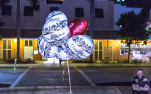 Balloons on the steps into the Delray Beach Courthouse